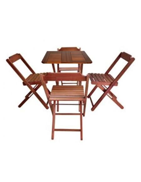 (R$35,00) Kit Mesa Madeira Dobrável + 4 Cadeiras