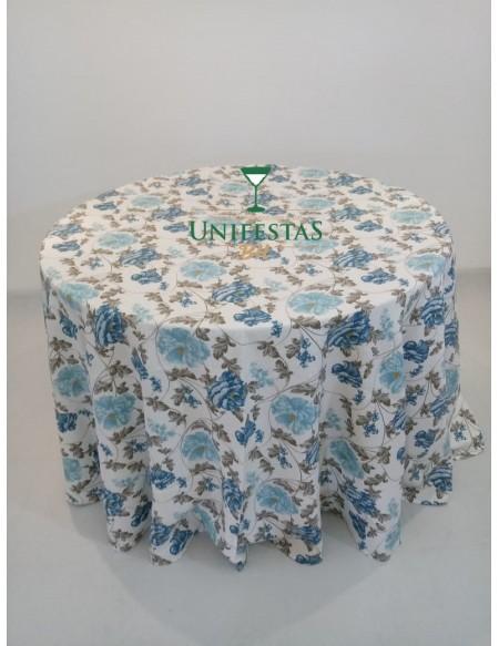 (R$12,00) Toalha Aparador Estampada Azul Floral (2.80m)