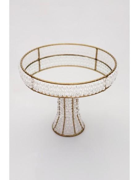 (R$25,00) Bandeja Cristal Pé Alto Dourada (A24 / D27cm)