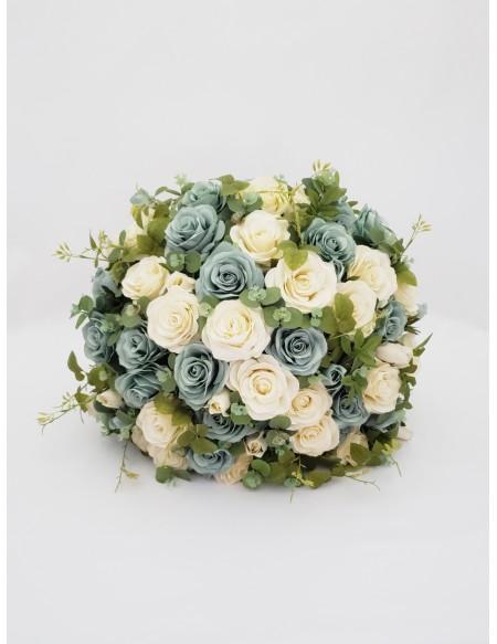 (R$35,00) Buquê Permanente Flor Azul e Pérola