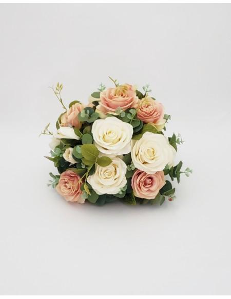 (R$25,00) Buquê Permanente Flor Pérola e Rose P