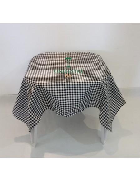 (R$4,80) Toalha Quadrada Xadrez Preto/Branco (1.40m)