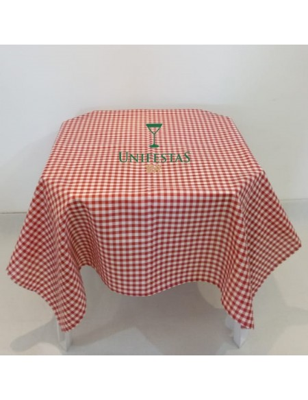 (R$4,80) Toalha Quadrada Xadrez Vermelho/Branco (1.40m)