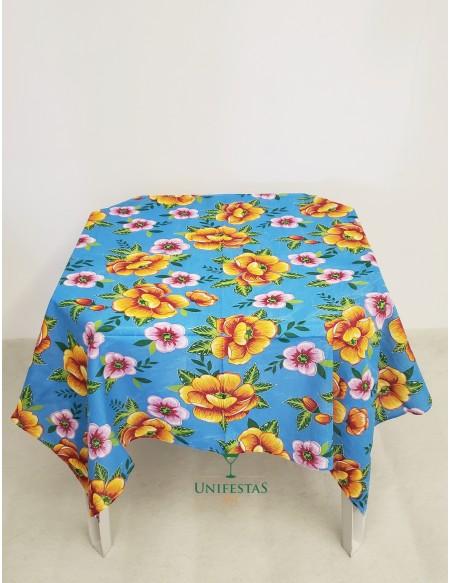 (R$4,00) Toalha Quadrada Chita Azul Floral (1.40m)