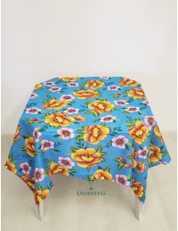 (R$4,80) Toalha Quadrada Chita Azul Floral (1.40m)