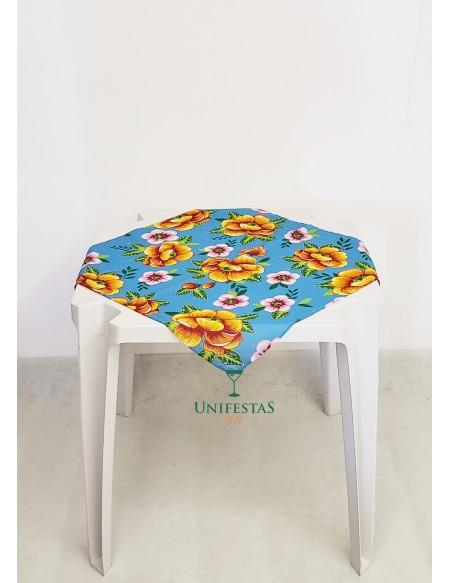 (R$2,00) Toalha Quadrada Chita Azul Floral (70cm)