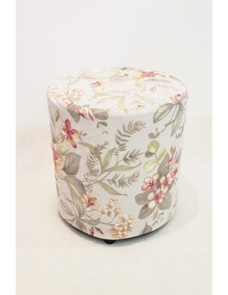 (R$8,00) Puff Redondo + Capa Floral (D40 / A43cm)