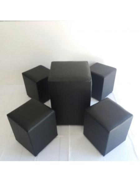 Kit Puff Mesa Quadrado + 4 puffs Quadrados Preto