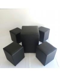 (R$40,00) Kit Puff Mesa Quadrado + 4 puffs Quadrados Preto