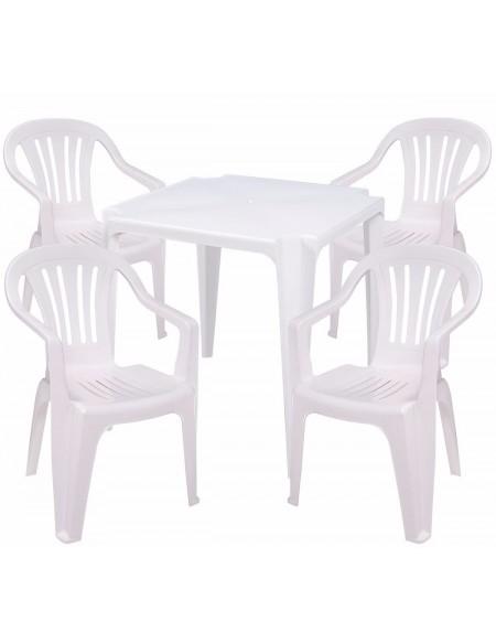 Kit Mesa de Plástico Mais 4 Cadeiras Poltrona de Plástico